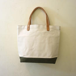 Japanese canvas & vintage fabric mini tote tall olive green