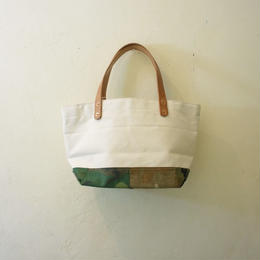 Japanese made canvas & vintage fabric patched mini tote #131