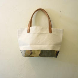 #130 made canvas & vintage fabric patched mini tote