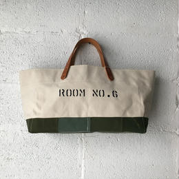 #357 Japanese canvas and  VTG patched tote large short