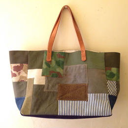 #025 vintage military patchwork totebag
