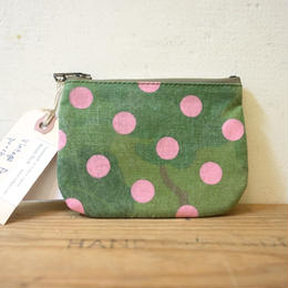 "vintage fabric pouch ""pinky dot"""