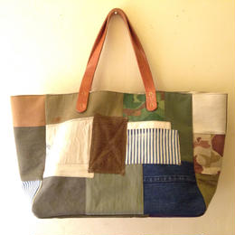 #019 vintage military patchwork totebag