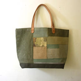 #0239 vintage military patchwork  bag Large size