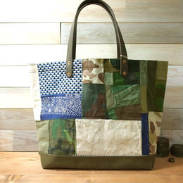#0090 vintage military patchwork &刺し子 bag Large size