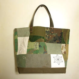 #071 vintage military patchwork &刺し子 bag Large size