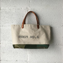 #355 Japanese canvas and VTG patched tote midium