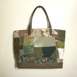 #074 vintage military patchwork bag Large size
