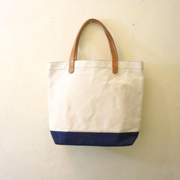 Japanese canvas & vintage fabric tote tall denim