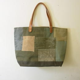 #0238 vintage military patchwork  bag Large size