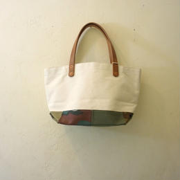 Japanese made canvas & vintage fabric patched mini tote #129