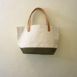Japanese made canvas & vintage fabric mini tote olive green