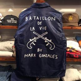 【残り僅か】Mark Gonzales  BA TAILLON DE LA VIE coach jacket  (Navy)