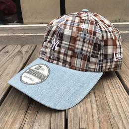 """【ラス1】NEW ERA  9twenty """"NY"""" check adjuster cap"""