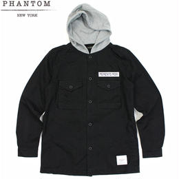 "【残り僅か】PHANTOM NYC ""Military Washed"" Hooded Shirts(Black)"
