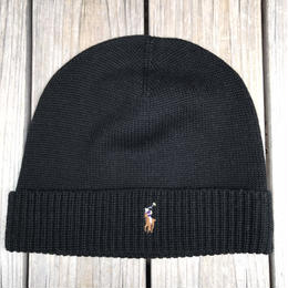 "【残り僅か】POLO RALPH LAUREN ""small pony"" knit cap  (Black)"