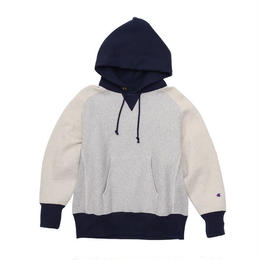 Champion ''REVERSE WEAVE'' pull over hooded sweat (Gray/Navy)