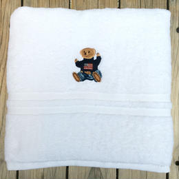 【残り僅か】POLO RALPH LAUREN bear embroidery bath towel (White)