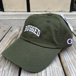 "【残り僅か】RUGGED on Champion ""ARCH LOGO"" Leather belt adjuster cap(Olive×White)"
