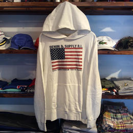 【残り僅か】DENIM & SUPPLY cotton french terry flag hoody(White)