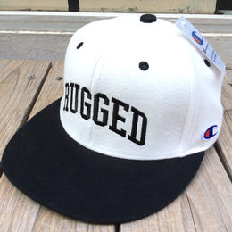 "【ラス1】RUGGED on Champion ""ARCH LOGO"" snapback(White×Black)"