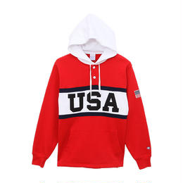 【残り僅か】Champion ''USA'' pullover sweat hoodie  (Red)
