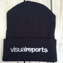 【残り僅か】visualreports logo knit cap  (Black/White)