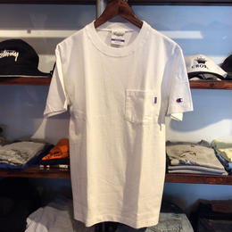 RUGGED on Champion pocket tee(White)
