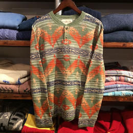 "【ラス1】DENIM&SUPPLY ""SOUTH WESTERN"" cotton henry neck shirt (Green)"