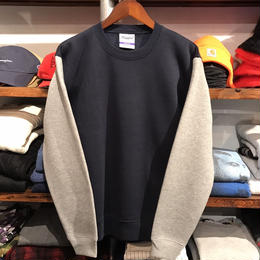 RUGGED bi-color plain sweat (Navy×Gray)