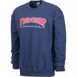 THRASHER OUTLINED CREWNECK -NAVY