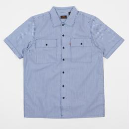 LEVI'S SKATE BOARDING Short Sleeve Button Down Shirt - Blue Seersucker