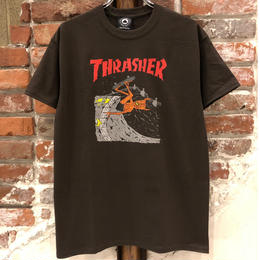 THRASHER NECKFACE INVERT TEE-BROWN