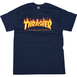 THRASHER MAGAZINE FLAME LOGO T SHIRTS - NAVY