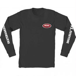 REAL SKATEBOARDS Real Vs Everyone Oval Long Sleeve T-Shirt - Black/White