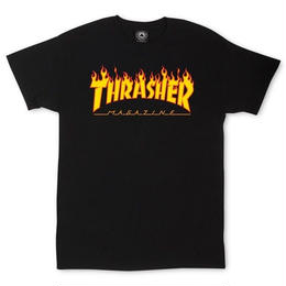 THRASHER MAGAZINE FLAME LOGO T SHIRTS - BLACK