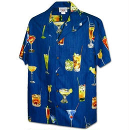 "PACIFIC LEGEND Hawaiian Shirts ""Cocktail"" - Blue"