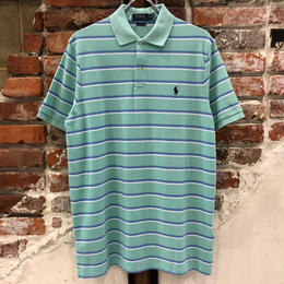 POLO RALPH LAUREN 1POINT STRIPE POLO SHIRTS-GREEN MU