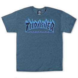THRASHER MAGAZINE FLAME LOGO T SHIRTS - Dark Heather