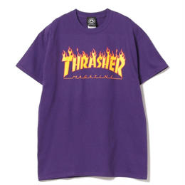 THRASHER MAGAZINE FLAME LOGO T SHIRTS - PURPLE