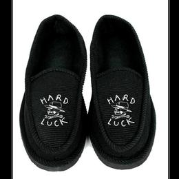 Hard Luck Hard Luck Hard Times House Slippers-Black/White