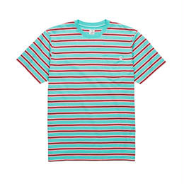 POLAR SKATE CO STRIPED POCKET TEE-Mint / Coral red