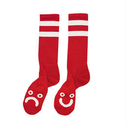 POLAR SKATE CO HAPPY SAD SOCKS - Red