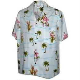 "PACIFIC LEGEND Hawaiian Shirts ""Flamingo"" - White"
