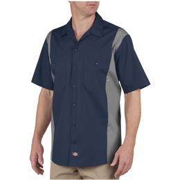 DICKIES Industrial Color Block Short Sleeve Shirt - Dark Navy/Smoke