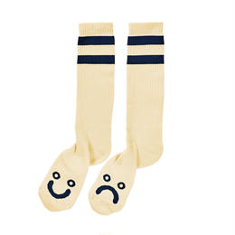 POLAR SKATE CO HAPPY SAD SOCKS - Pastel Yellow