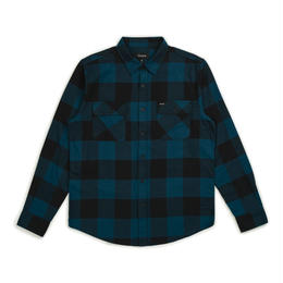 BRIXTON BOWERY LIGHTWEIGHT L/S FLANNEL - BLACK/TEAL