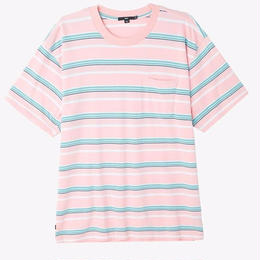 OBEY Belford Stripe Box Pocket Tee-PINK
