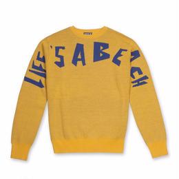 LIFE'S A BEACH LAB LAB Strip Logo Crew-Yellow