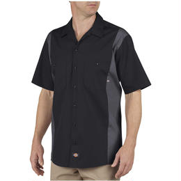 DICKIES Industrial Color Block Short Sleeve Shirt - Black/Charcoal